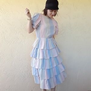 VINTAGE Ruffle multicolored union made dress M 9